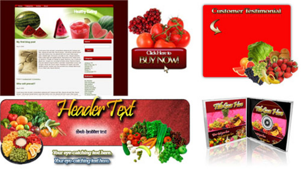Product picture Niche Healthy Eating Site Templates Pack - Unrestricted PLR
