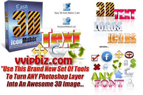 Product picture Easy Icon Maker V2: Create an Awesome 3D Image in 3 Simple Steps....