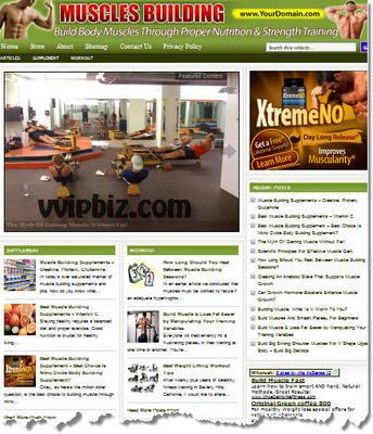 Product picture Muscle Building Website PLR - WordPress Health Niche Blogs